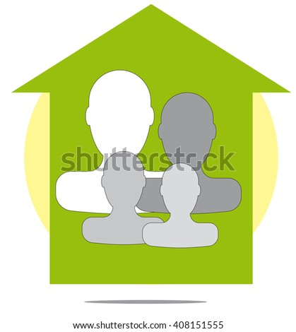 Illustration of family with green house - stock photo