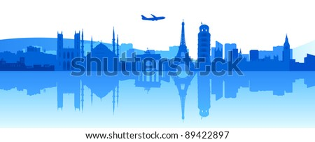 Illustration of famous buildings and monuments in Europe - stock photo