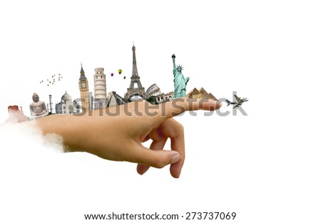 illustration of famous monuments of the world on a woman hand pointing the sky - stock photo
