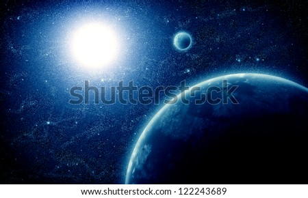 illustration of fantastic space with clouds. - stock photo
