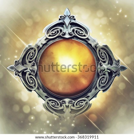 Illustration of fantasy emblem with metal and gold, on magical background - stock photo