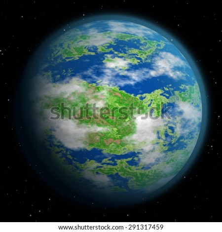 Illustration of fantasy planet - Earth like, with oceans, lowlands, and clouds in the sky