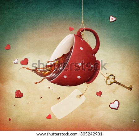Illustration of fantasy with red cup of tea - stock photo