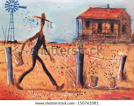 Illustration of farmer in Australian outback setting fly traps along fence line. In the background is an old homestead.