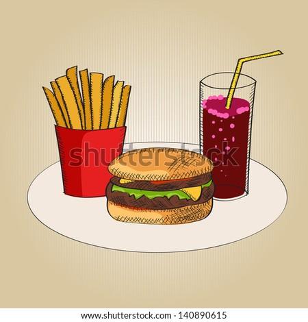 Illustration of fast food - stock photo