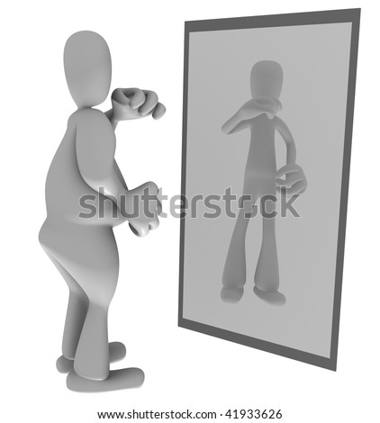 Illustration of fat person looking at thin reflection in mirror