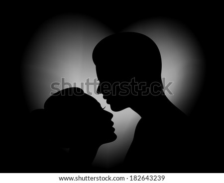 Illustration of female and male silhouettes with heart shaped background - stock photo