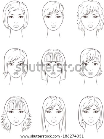 Illustration of female faces. Different hairstyles. Raster version - stock photo