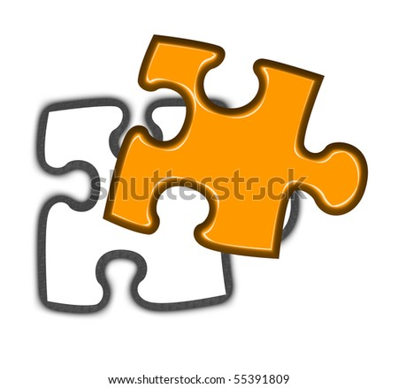 Illustration of final piece of jigsaw puzzle falling into place, white background. - stock photo