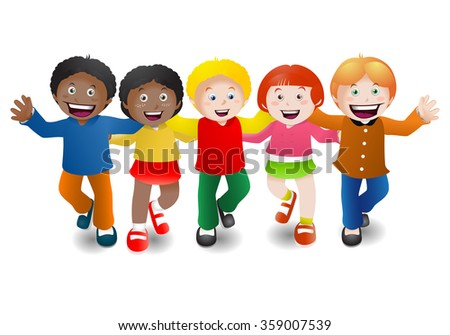 illustration of five multicultural children holding hands on isolated white background - stock photo