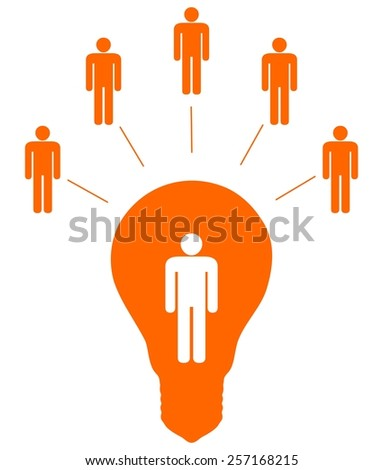 Illustration of five people linked to another inside a light bulb - stock photo