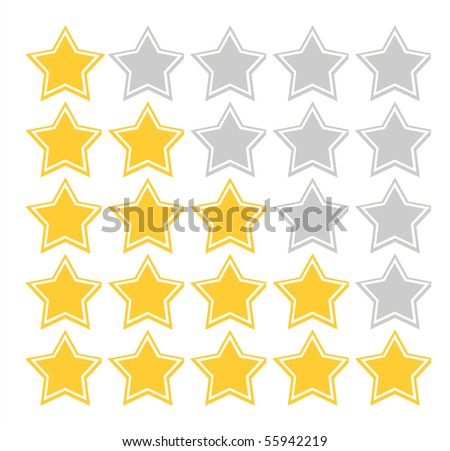 Illustration of five star quality rating scheme, isolated on white background.
