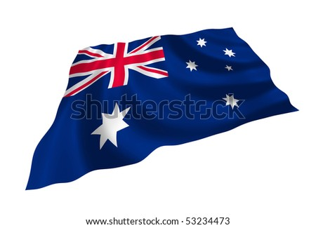 Illustration of flag of Australia waving in the wind - stock photo