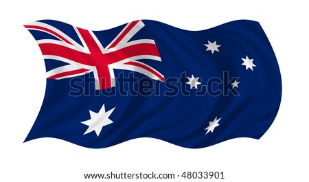 Illustration of flag of Australia waving in the wind (see more other flags in my collection) - stock photo