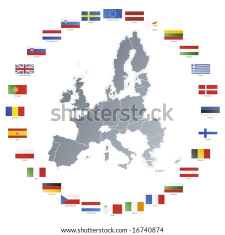 Illustration of flags of the 27 members of the European Union as of 2008 plus NATO and the EU spread in a circle around the countries' map.