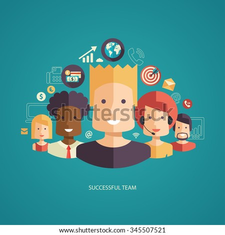 Illustration of flat design business composition with successful team - stock photo