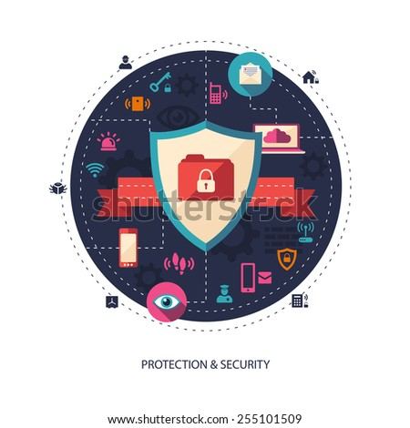 Illustration of flat design business illustration with security composition - stock photo