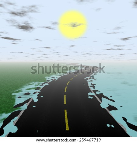 Illustration of flooded road during sunset with mist on the horizon - stock photo