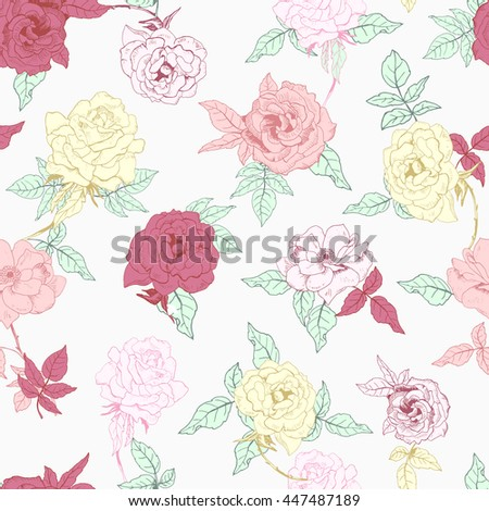 Illustration of floral seamless. Isolated red, yellow, pink roses and leaves on white background.