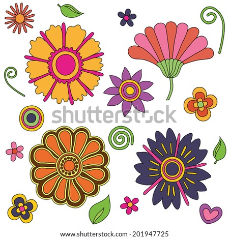 Illustration of flowers with leaves, circle and heart colorful bright psychedelic retro flowers set, good for textile and  pattern  - stock photo