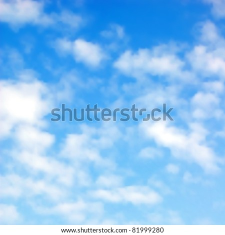 Illustration of fluffy white clouds in a blue sky - stock photo