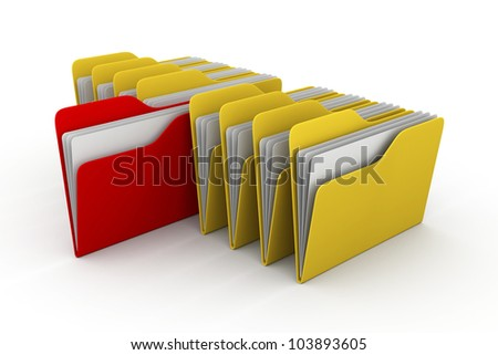 illustration of folder icons row with one selected