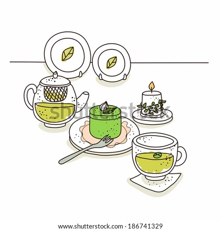 Illustration of food against plates