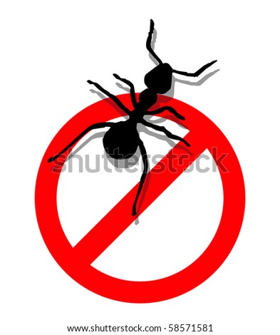 Illustration of forbidden to enter ants.