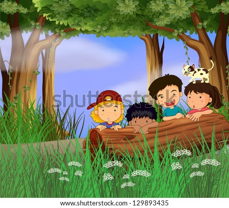 Illustration of four childrens playing in the forest - stock photo