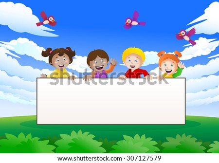 illustration of four cute children holding a blank banner on nature background - stock photo