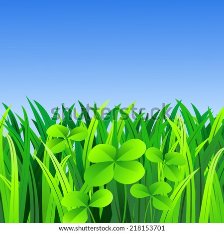 Illustration of four-leaf clover in a meadow with blue sky - stock photo