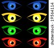 illustration of four pairs of scary halloween eyes - stock photo