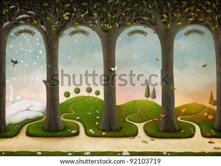 Illustration of Four Seasons. Winter, Spring, Summer, Autumn. Computer Graphics. - stock photo