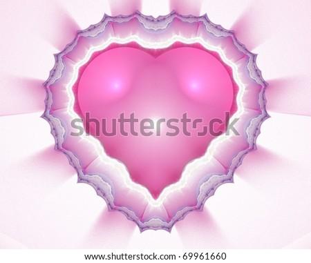 Illustration of fractal heart on Valentine's Day. - stock photo