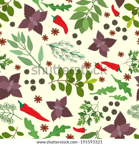 illustration of fresh cooking herbs and spices in a seamless pattern with oregano  parsley  basil  rosemary  rocket  sage  bay   thyme  red hot chili pepper and peppercorns scattered on white - stock photo