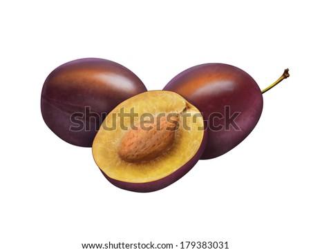 Illustration of fresh plums isolated on white  - stock photo