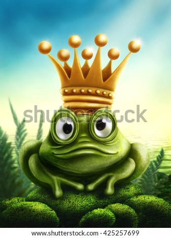 Illustration of frog prince with gold crown - stock photo