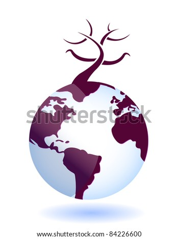 Illustration of full-scale global environmental disaster - stock photo