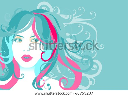 illustration of funky, cool, young woman portrait on the blue background. - stock photo