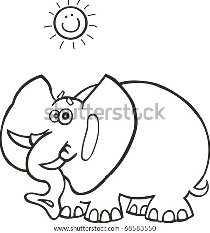 Illustration of funny african elephant for coloring book