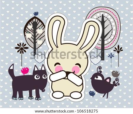 illustration of funny animals - stock photo
