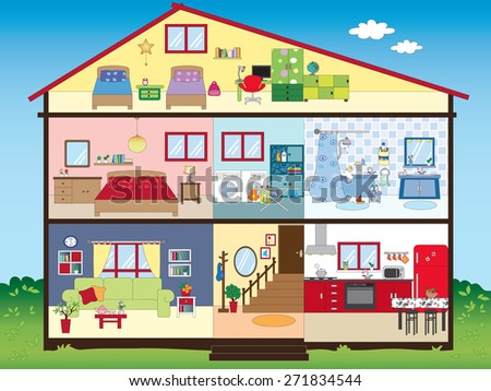 Illustration Funny Interior House Stock Illustration