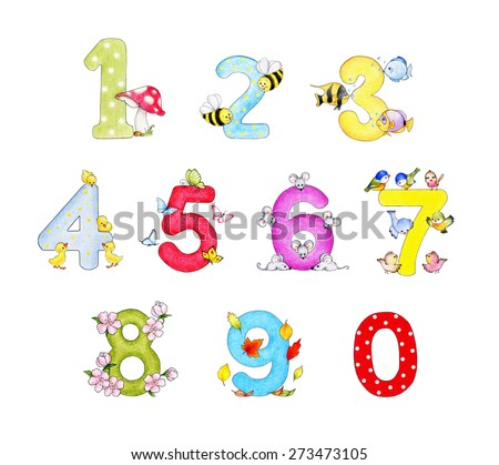 Illustration of funny numbers - stock photo