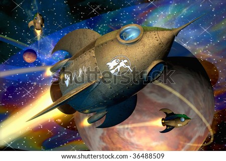 Illustration of futuristic rockets in the universe - stock photo
