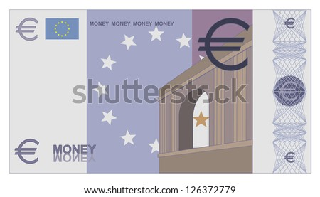 Illustration of game money euro bill - stock photo