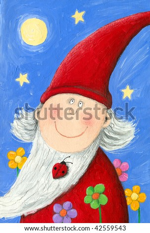 Illustration of Garden Dwarf in the Night - stock photo