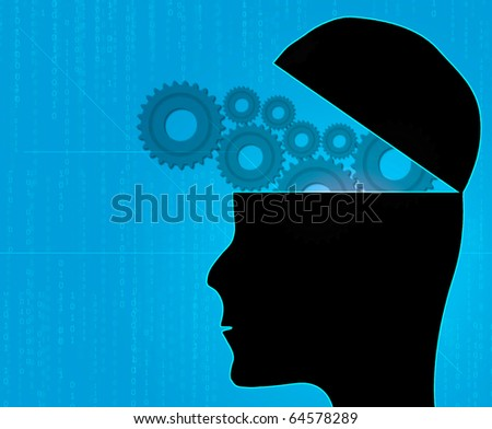 Illustration of gears inside a human head - stock photo