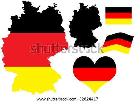 illustration of Germany map with flag and heart in national colors