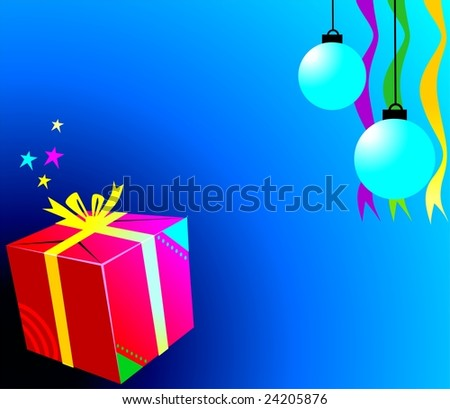 Illustration of gift pack and bubbles