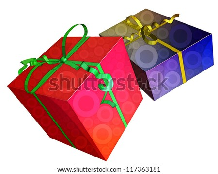 illustration of gifts boxes representing notions such as christmas, birthday, festive season, consumerism and celebration of an event - stock photo